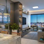 Perspectiva do Living do apartamento quarto e sala com 1 suíte