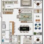 Planta baixa dos apartamentos de 02 suítes 03 e 04