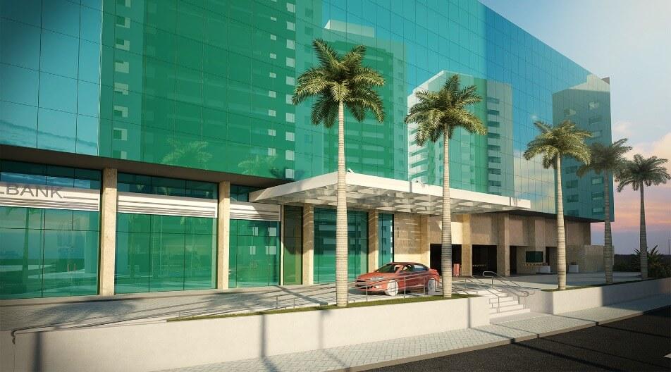 Perspectiva da entrada do Internacional Trade Center Salvador
