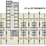 Planta baixa do 1º ao 20º andar do Empresarial ITC Salvador