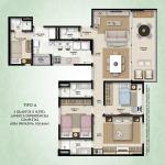 Planta baixa - Tipo A - 3 quartos com 1 suíte, lavabo e dependências completas - área privativa de 108,46m2