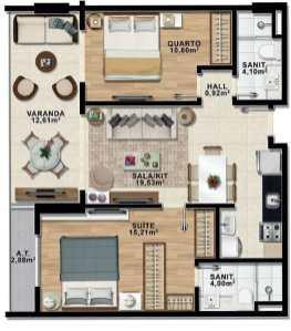 Planta Baixa - Apartamento Quarto com Suíte e Varanda - Premium Stella Maris