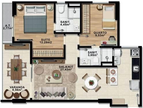 Planta Baixa - Apartamento dois quartos com Suíte e Varanda - Premium Stella Maris