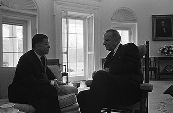 Senator Edward Brooke meeting with President Lyndon Johnson in the Oval Office shortly after taking office in the Senate in 1967.