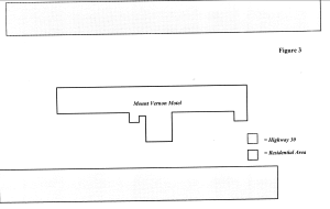 Map of the Mount Vernon Motel and the surrounding area, including Highway 30 and a residential area