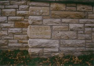 "Cornerstone of lodge that read ""ECW 1934"""
