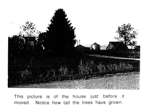 Black and white photo of American farmhouse slightly obscured by trees.