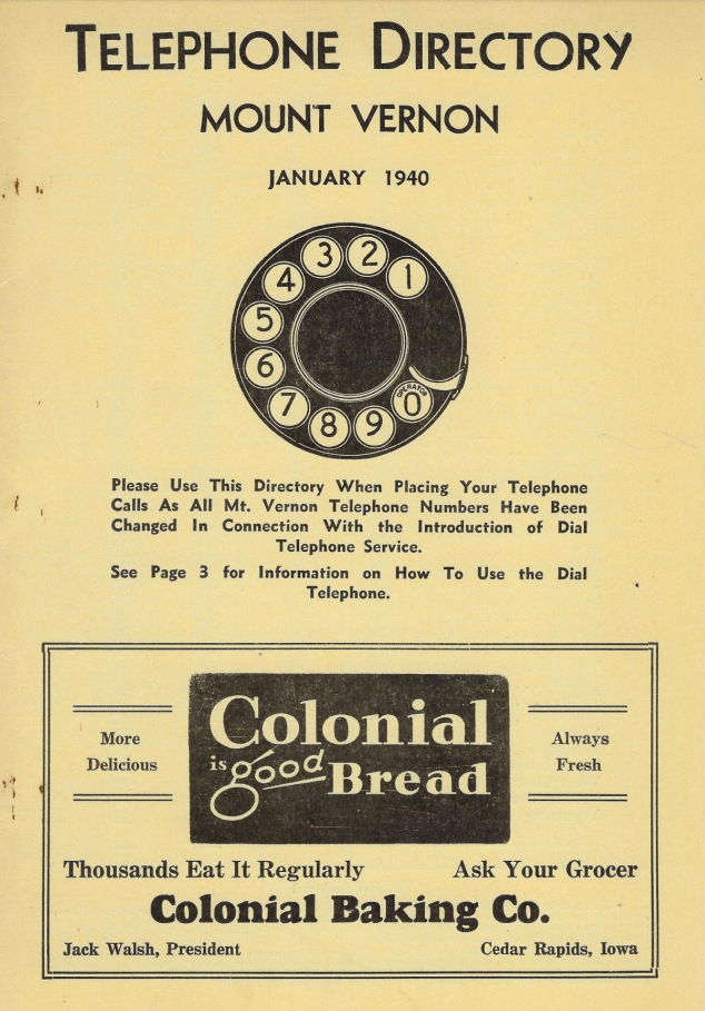 Photo of the cover page for the 1940 Mount Vernon Telephone Directory