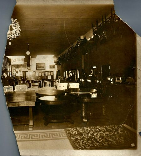 Photo of the inside of Neff Furniture Store, circa 1909