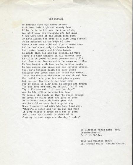 Photo of poem by Florence Viola Hahn-1943
