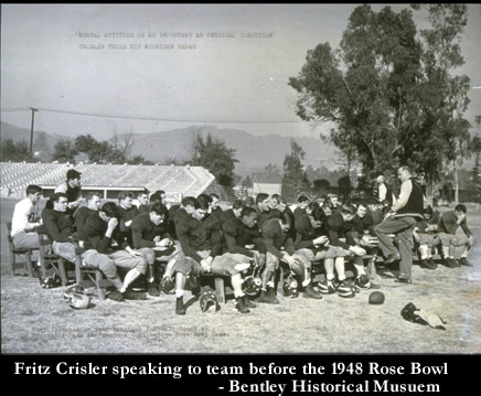 Crisler speaks to Michigan before 1948 Rose Bowl