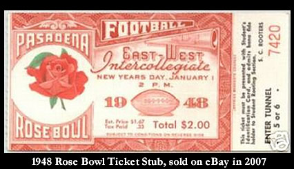 Ticket from 1948 Rose Bowl