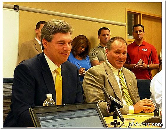 Dave Brandon and Rich Rodriguez at NCAA response teleconference