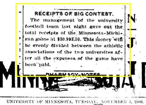 1903 Minnesota Game Receipts