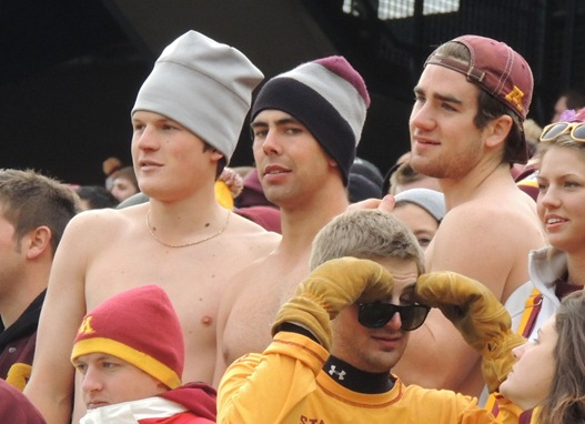 No Shirts on fans at Minnesota Gopher football game