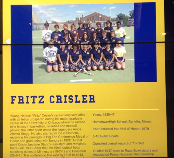 Fritz Crisler bio with Field Hockey Team