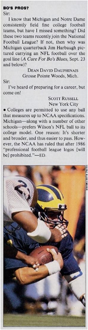SI Letter - Jim Harbaugh's NFL Wilson football
