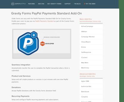 Gravity Forms: PayPal Addon