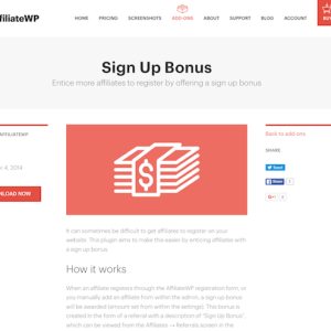 AffiliateWP: Sign Up Bonus