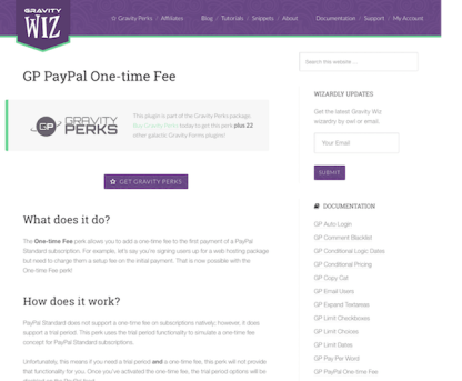 Gravity Perks: PayPal One-time Fee