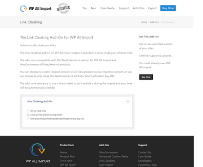 WP All Import Add-On: Link Cloaking