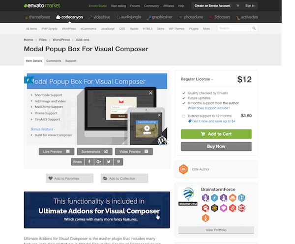 Codecanyon: Modal Popup Box For Visual Composer