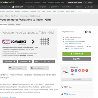 Codecanyon: Woocommerce Variations to Table