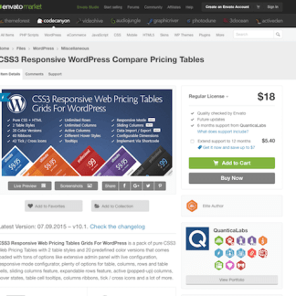 Codecanyon: CSS3 Responsive WordPress Compare Pricing Tables
