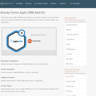 Gravity Forms: Agile CRM Addon