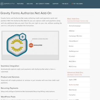 Gravity Forms: Authorize.net Addon