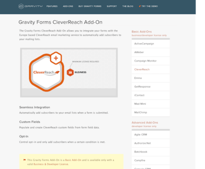 Gravity Forms: CleverReach Addon