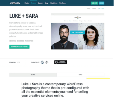 WPMU DEV: Luke and Sara WordPress Theme