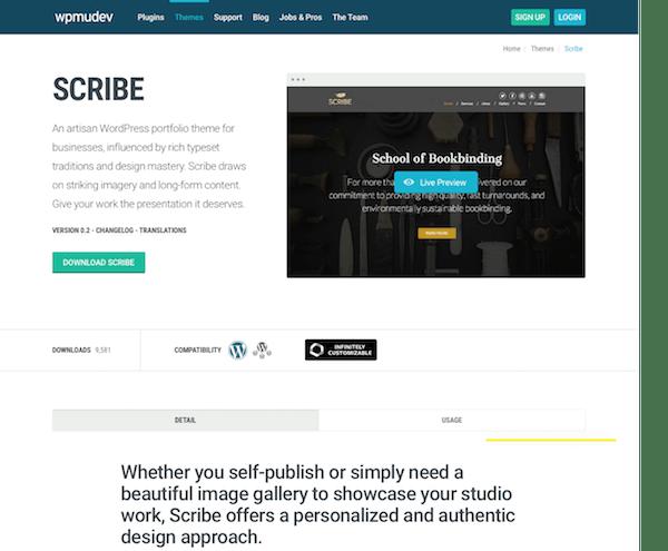 WPMU DEV: Scribe WordPress Theme