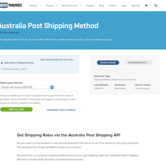 Extensión para WooCommerce: Australia Post Shipping Method
