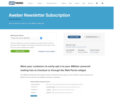 Extensión para WooCommerce: Aweber Newsletter Subscription