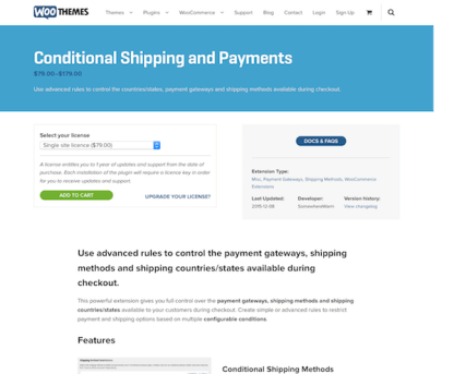 Extensión para WooCommerce: Conditional Shipping and Payments