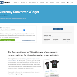 Extensión para WooCommerce: Currency Converter Widget