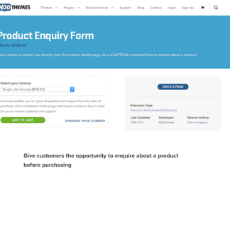 Extensión para WooCommerce: Product Enquiry Form