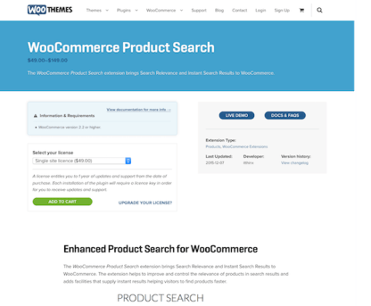 Extensión para WooCommerce: Product Search