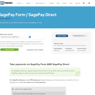 Extensión para WooCommerce: SagePay Form Integration