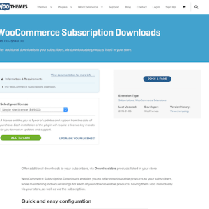Extensión para WooCommerce: Subscription Downloads