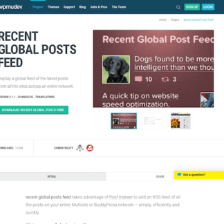 WPMU DEV: Recent Global Posts Feed WordPress Plugin