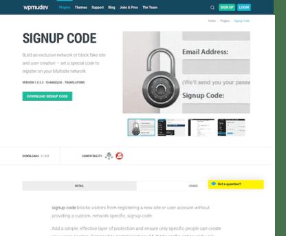 WPMU DEV: Signup Code WordPress Plugin