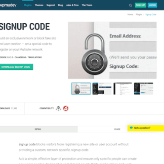 WPMU DEV: Signup Code WordPress Plugin
