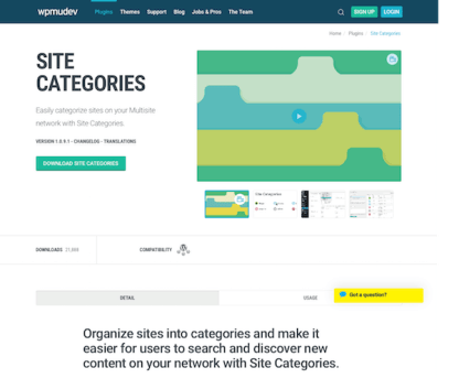 WPMU DEV: Site Categories WordPress Plugin