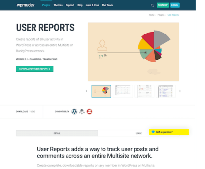 WPMU DEV: User Reports WordPress Plugin