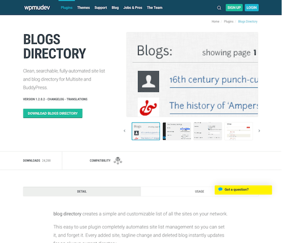WPMU DEV: Blogs Directory WordPress Plugin