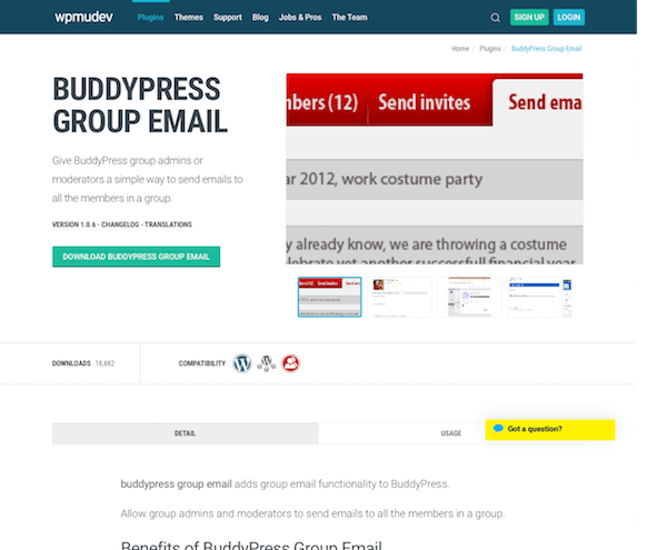 WPMU DEV: BuddyPress Group Email WordPress Plugin