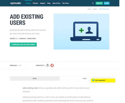 WPMU DEV: Add Existing Users WordPress Plugin