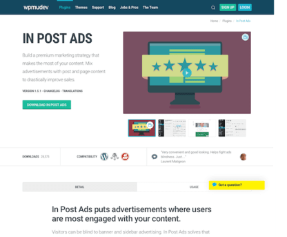 WPMU DEV: In Post Ads WordPress Plugin
